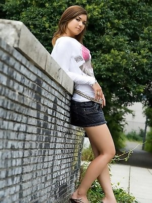 Maria sexy Asian teen model shows off her hot body in her nimi skirt