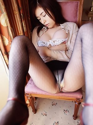 Beautiful gravure idol with perfect plump tits teases in lingerie